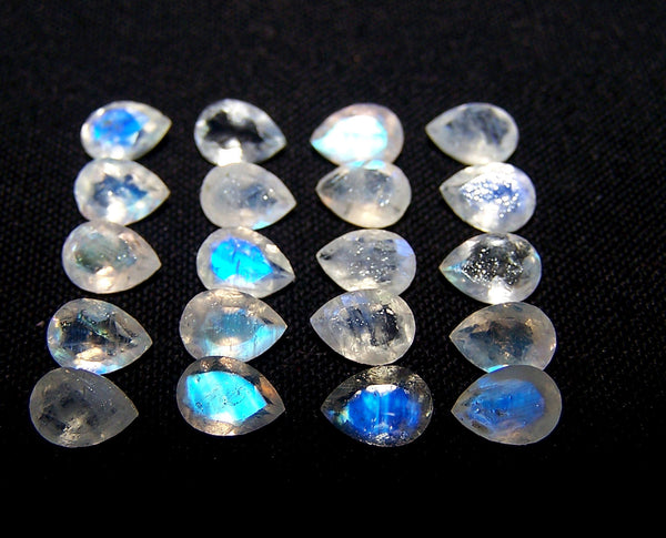 Masterpiece Collection : 5 X 7 MM Multi Fire White Rainbow Moonstone Faceted Pear Wholesale Parcel/lot Aaa Gems