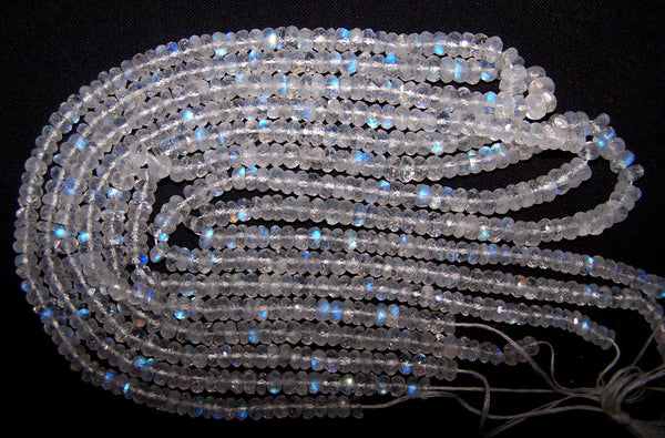 "High Quality Transparent & Natural White Rainbow Fire Moonstone Micro Faceted Roundel Beads String 5 - 5.5 - 6 MM, 17 "" Long AAA +"