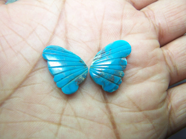 Sleeping Beauty/ Turquoise with Matrix Lines/ Hand Carved Turquoise Butterfly Wings/ For Jewelry/ Pendant/ Ring/ Loose Gem Wings/ AAA/ Large