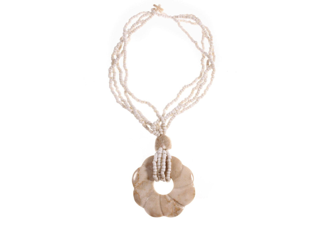 Cream beaded necklace with flower pendant