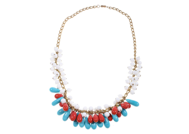 Blue and red beaded necklace