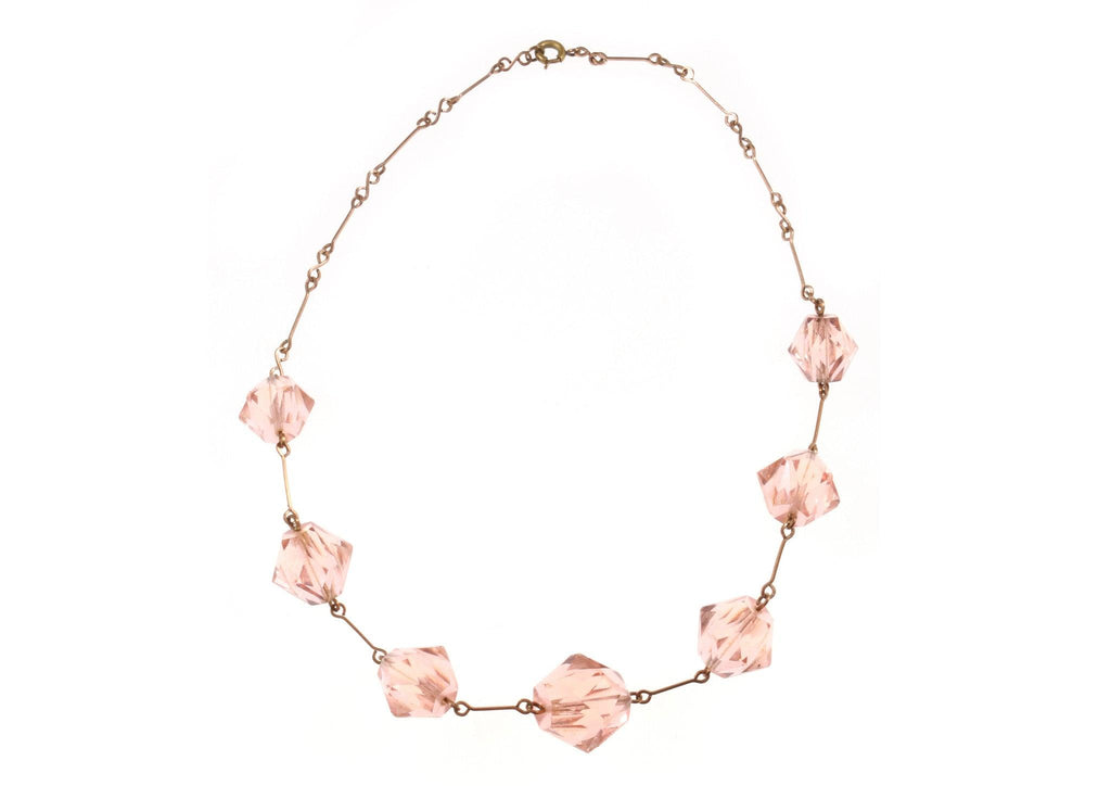 Pink beaded necklace with chain