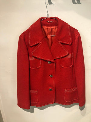 Vintage tomato red wool jacket lined ,with pewter coloured buttons UK size M