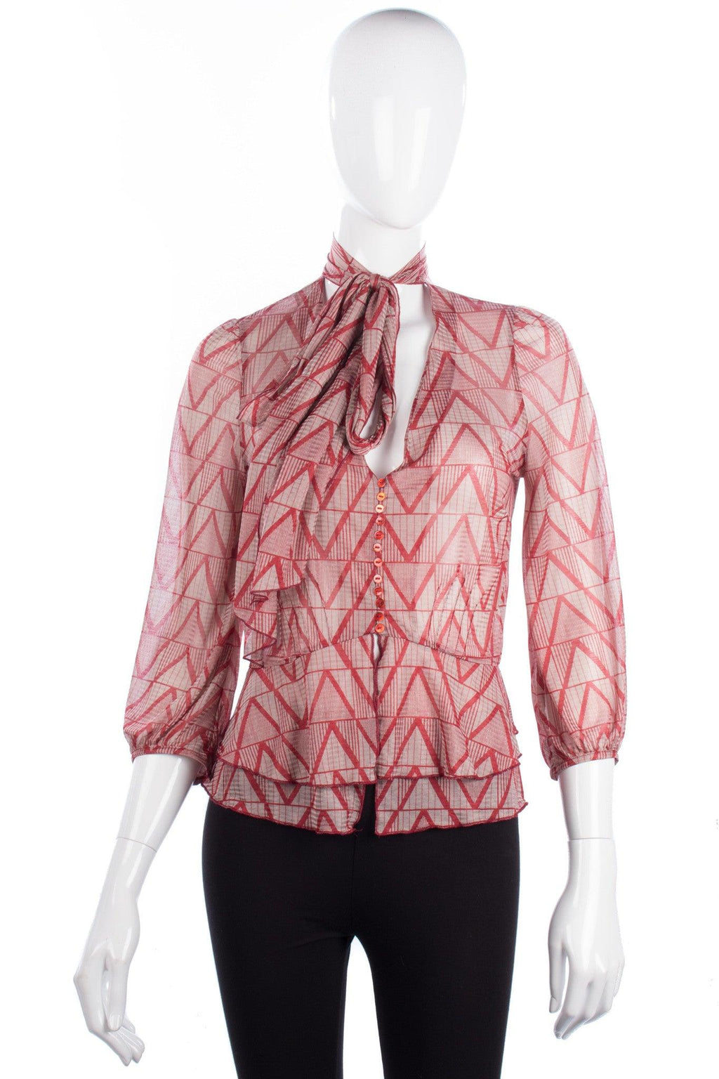 Kookai Blouse with Bow Red Geometric Pattern Size 10