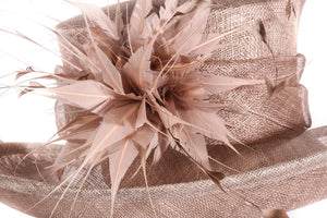 light brown hat with feather detail side