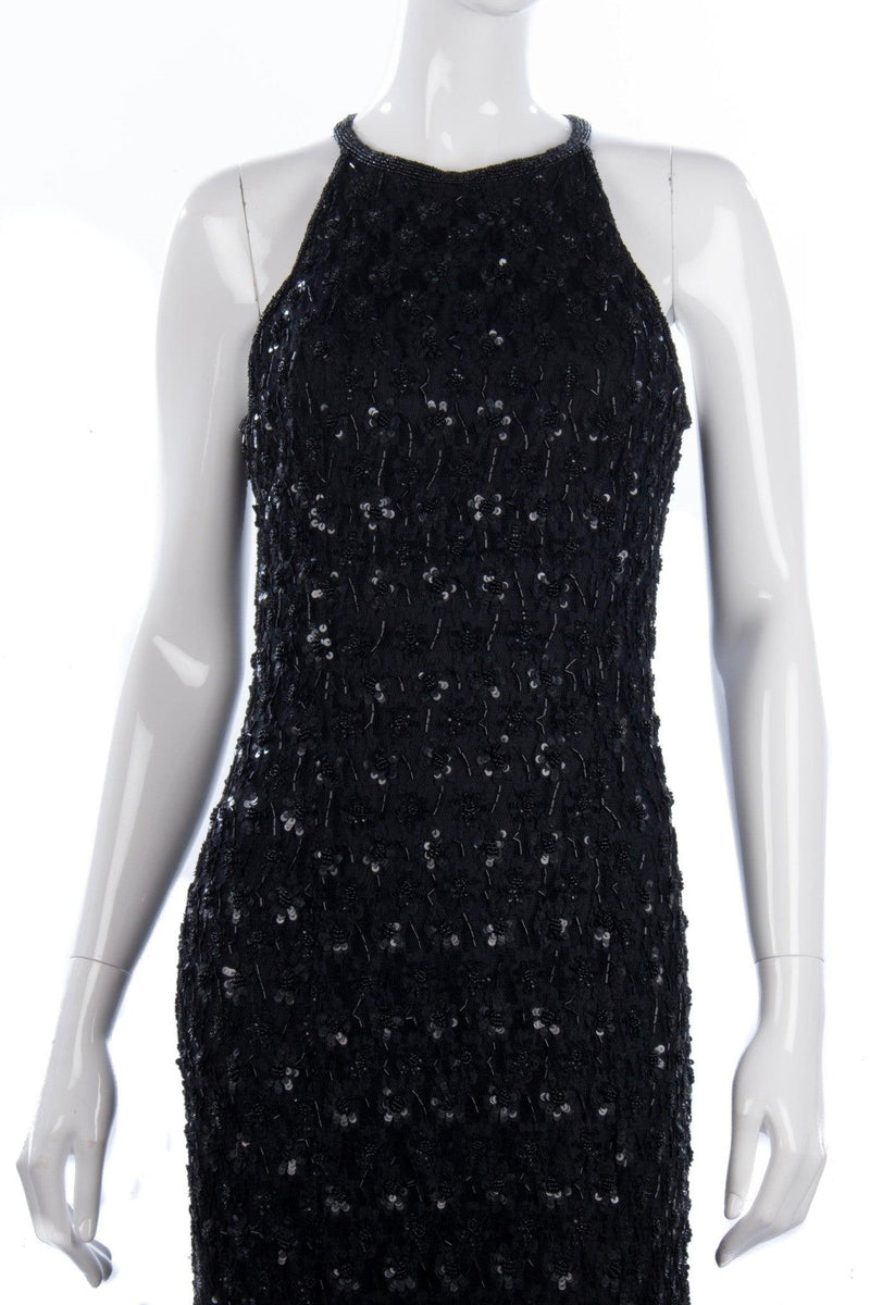 Vintage Opera at Richards Long Black Lace and Sequinned Dress. BNWT size 12