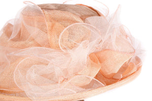 Mad Hatters peach formal hat side