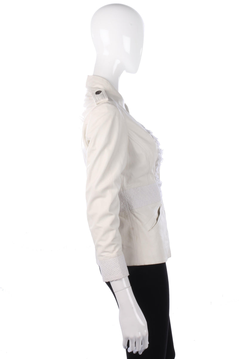 Graeme Black Super Soft Leather Jacket White Size S