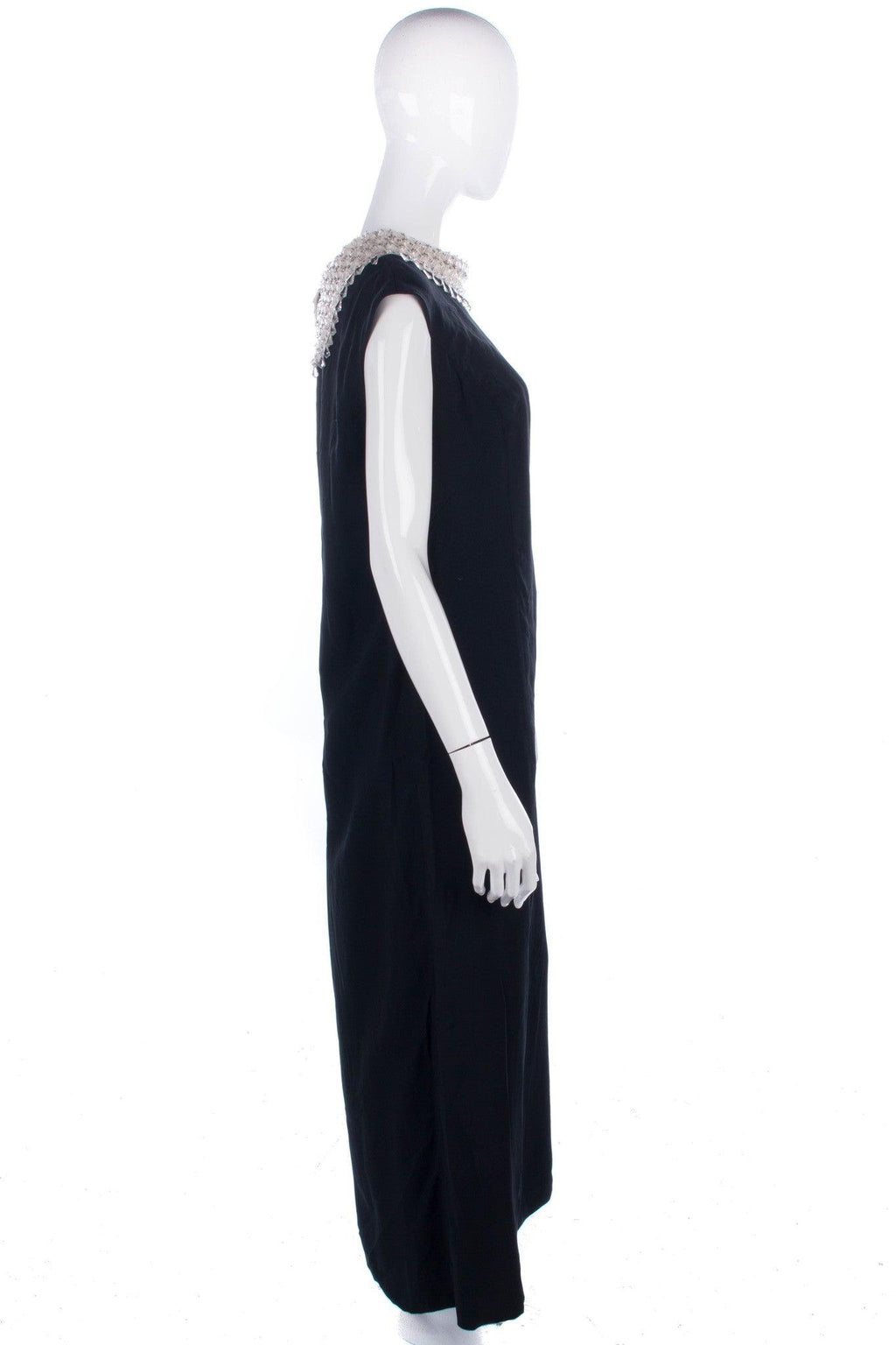 Classic straight vintage black evening gown with cream beaded collar