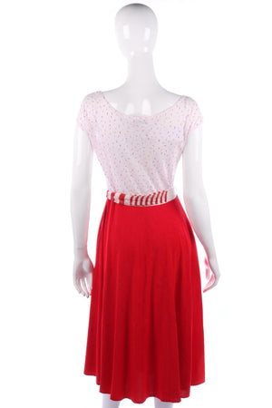 Marvie vintage dress with red skirt and white patterned top size M
