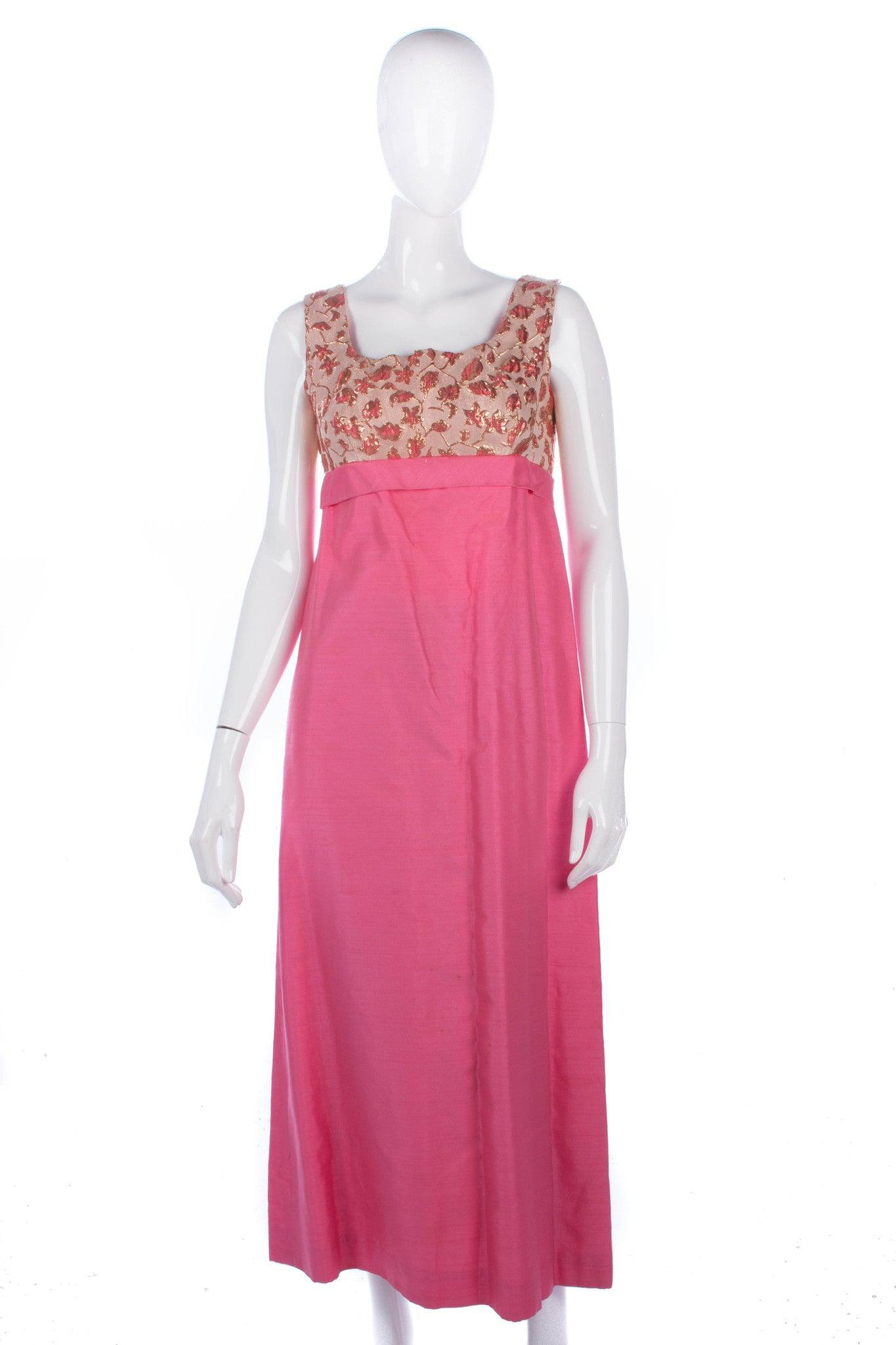 Fabulous vintage 1950\'s raw silk pink and gold long evening dress ...