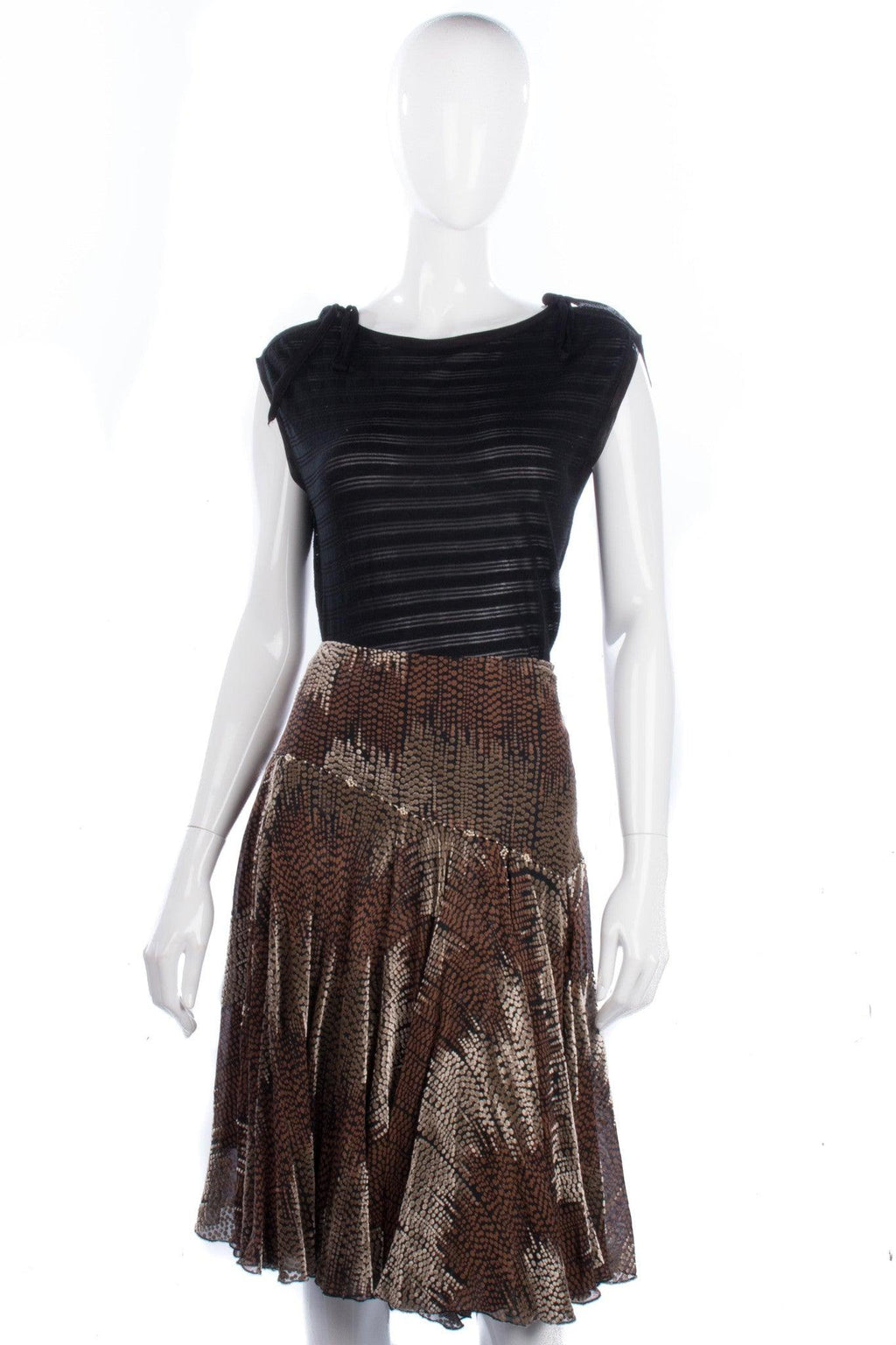 Fenn Wright Manson Silk Devore Skirt Black and Brown Spots UK12