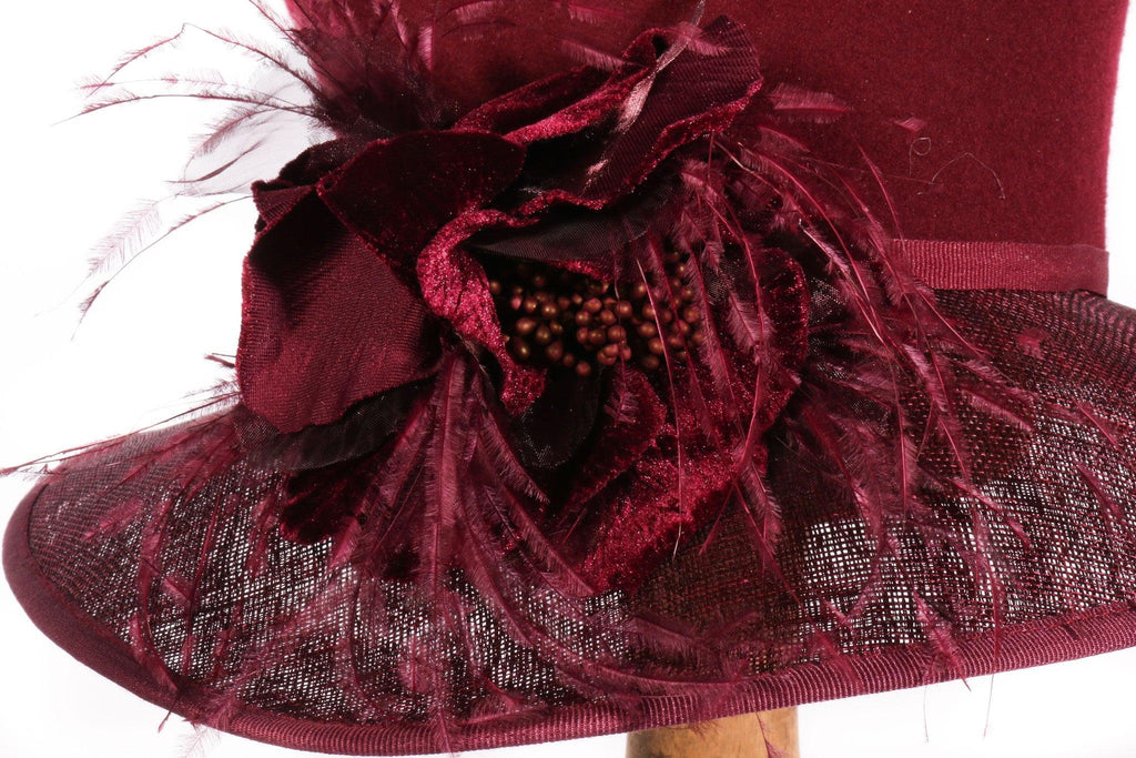 Belfour red hat with feathers side