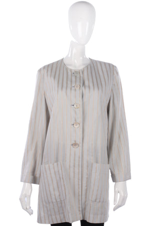 Jaeger Long Jacket Linen Grey and Gold Striped Size 14