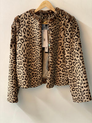 Blumarine Faux Fur Leopard Print Jacket UK size 12 (IT42) BNWT