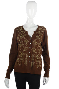 Wrap silk and cashmere brown embroidered cardigan