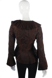 Funky french brown evening jacket with floral embroidery
