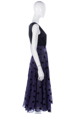 Lovely silk purple skirt with black spots by Roland Kenney
