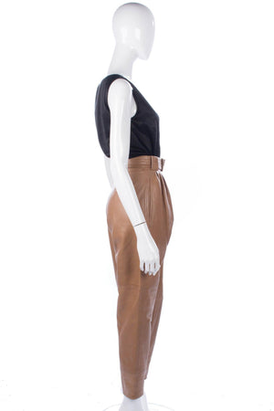 Amazing Loewe leather trousers with belt. Light tan in colour, superb soft leather size 6/8