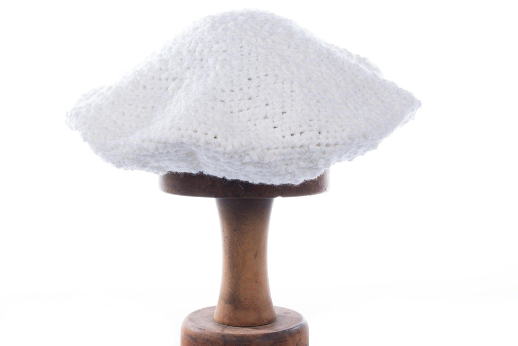 Handmade crochet white hat