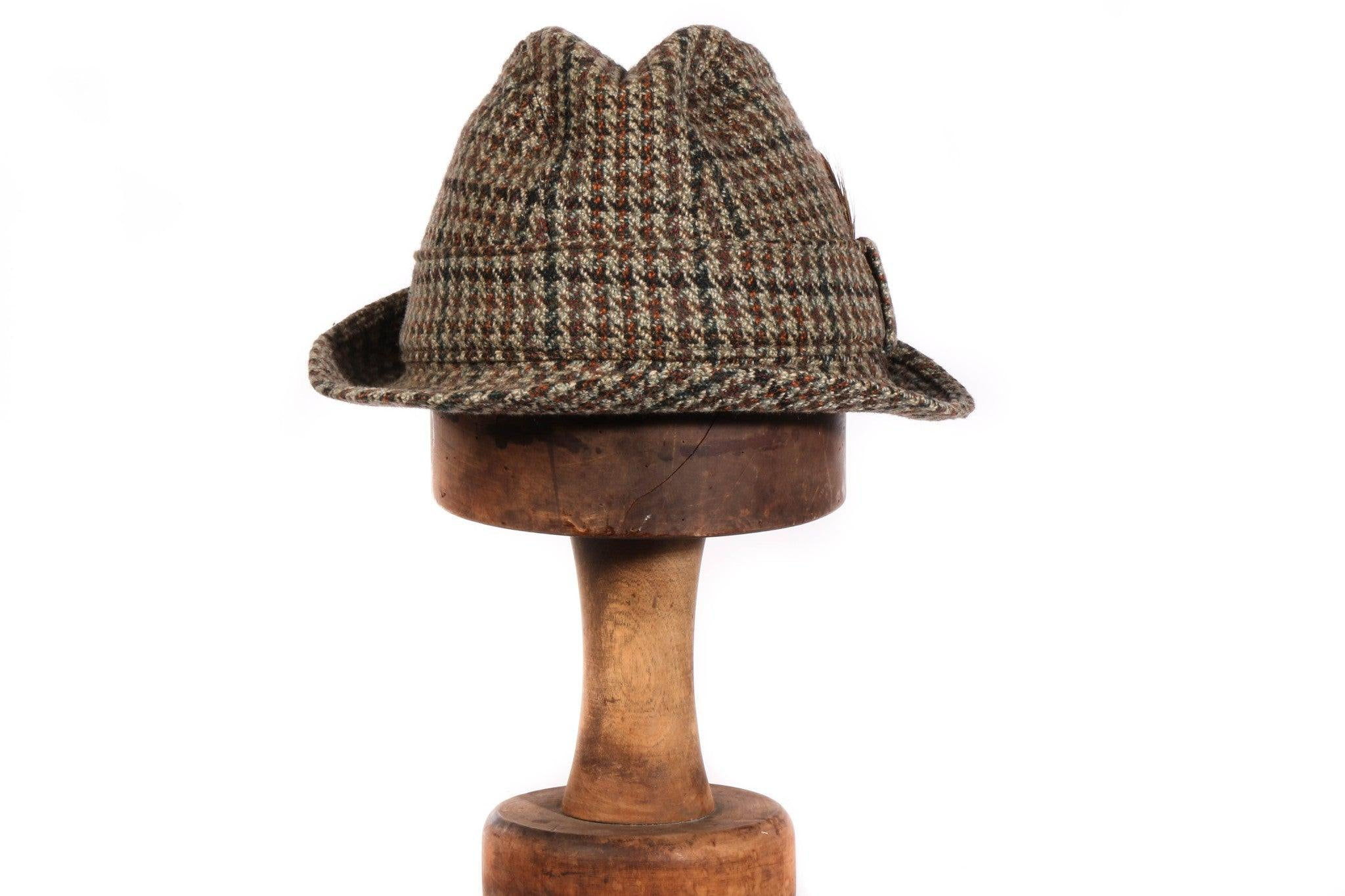 86feed38 Tweed trilby hat with feather – Ava & Iva