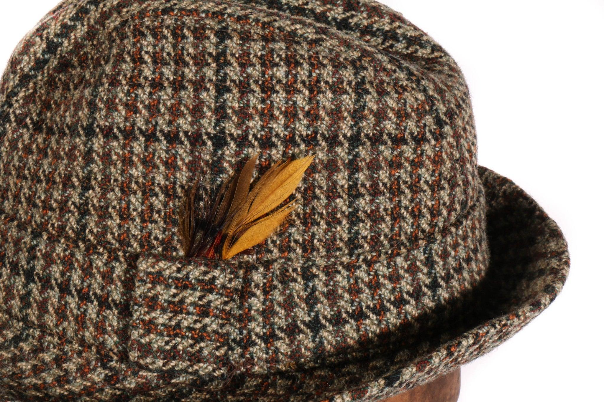 Tweed trilby hat with feather – Ava   Iva 9238db37694