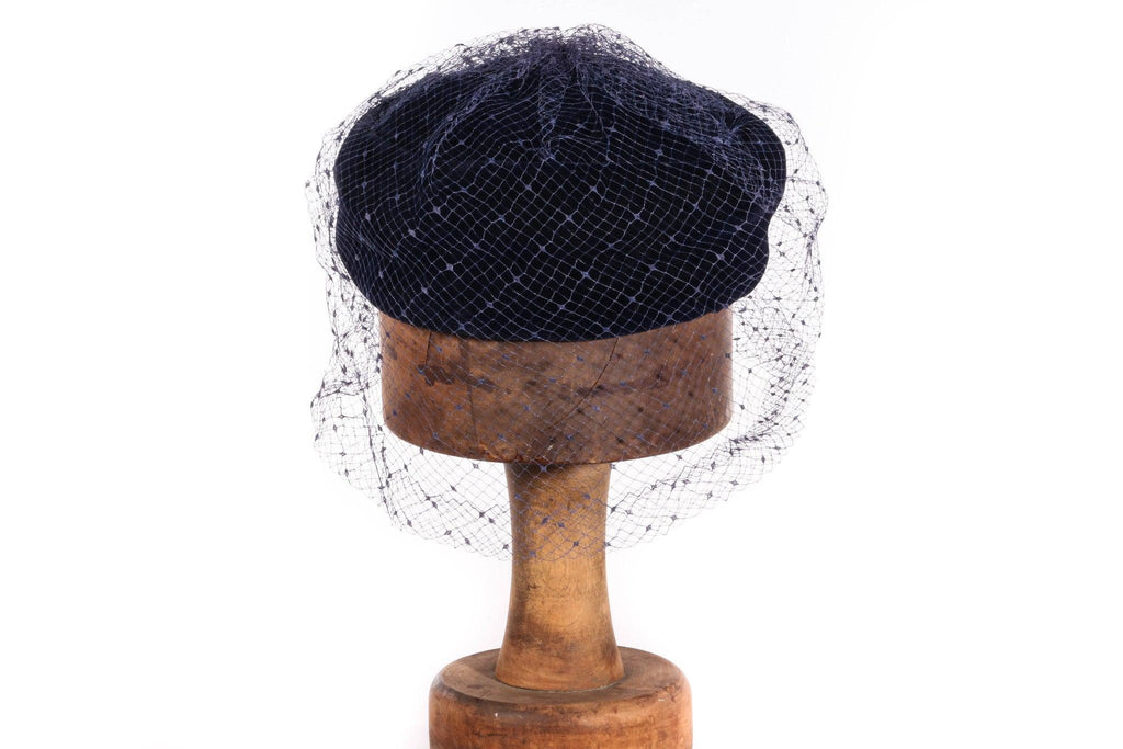 Blue velvet hat with netting