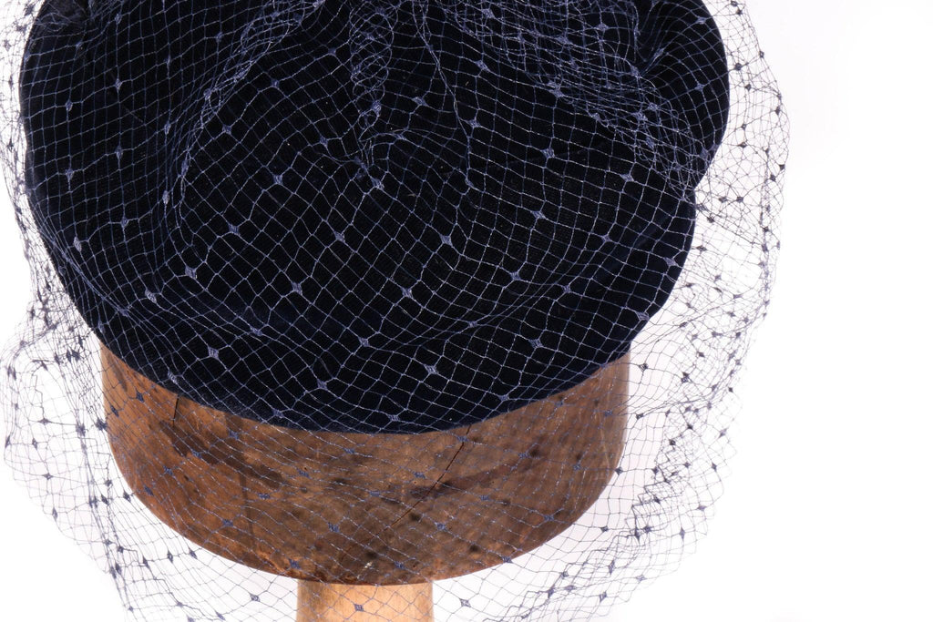 Blue velvet hat with netting detail