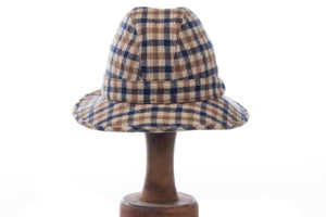 Aquascutum Trilby Hat Blue and Brown Check Size 52cm