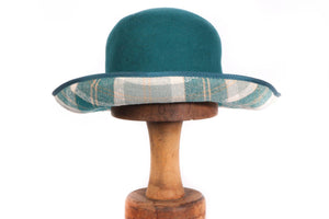 Whiteley turquoise hat with gingham