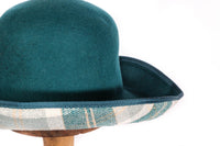 Whiteley turquoise hat with gingham  side