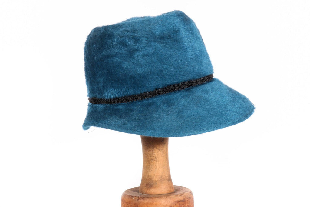 Debenette blue fux fur hat  side