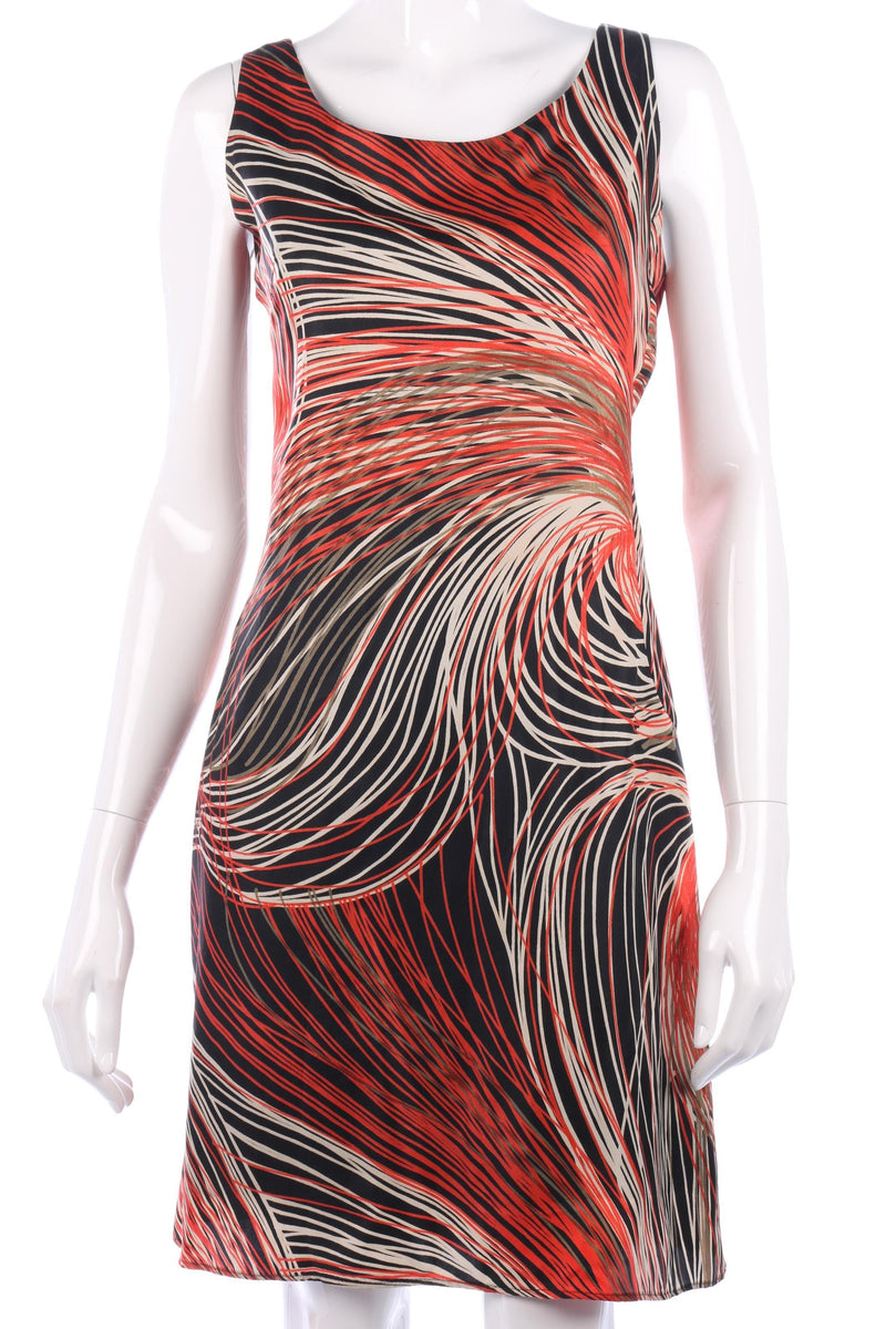 Vintage Frank Usher orange, cream and black dress