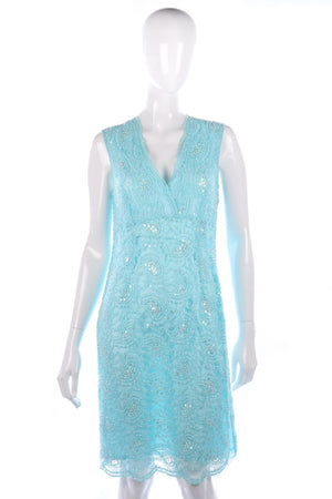 Light blue lace beaded dress size 14