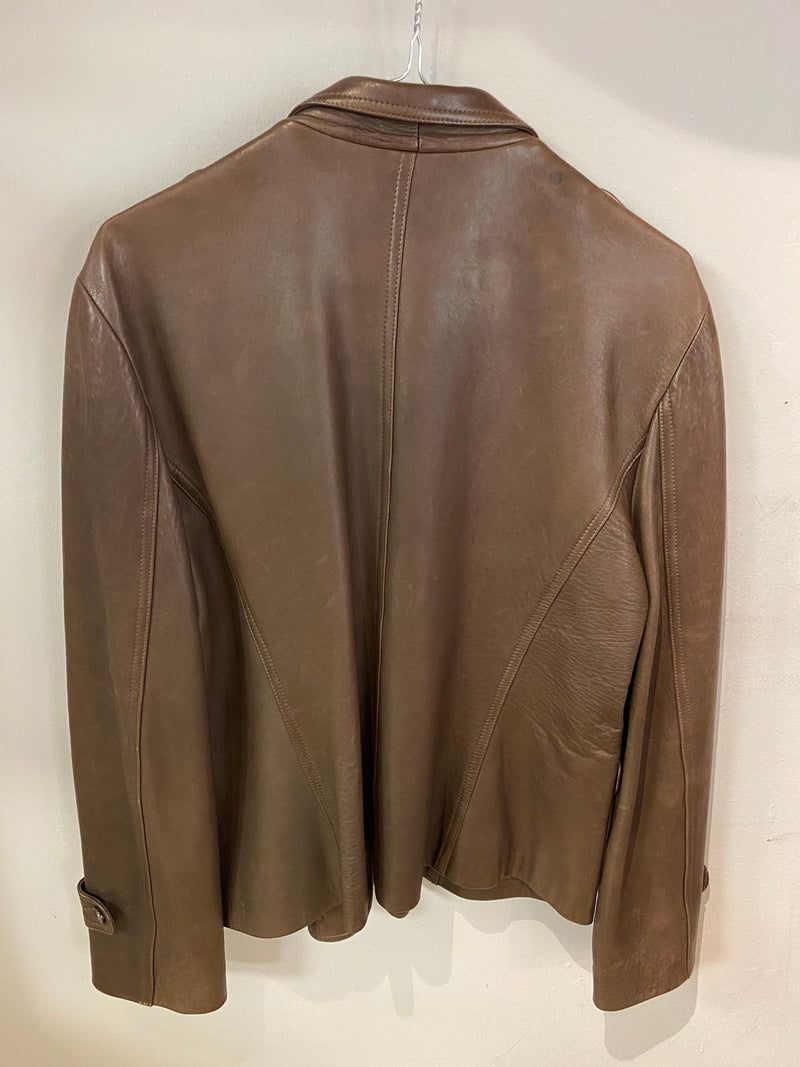 Gerard Darel Super Soft Leather Jacket Brown Size 44 UK16