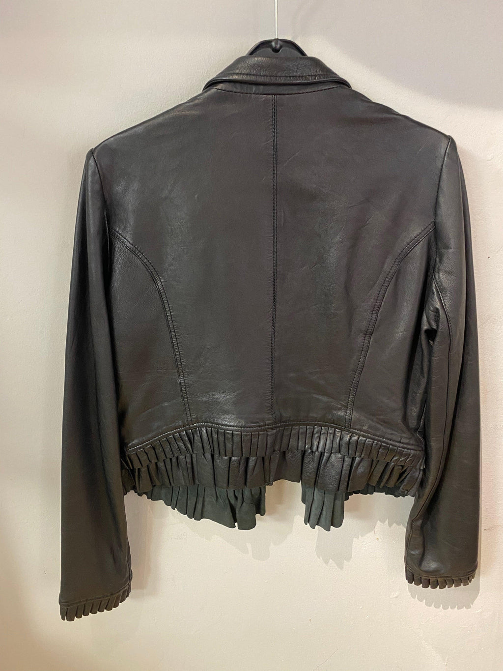 Vintage Saint Tropez Black Leather Jacket with ruffle hem UK size M