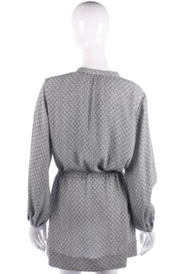 Wrap Tunic Top with Crystal Belt Silk Grey Pattern UK Size 12