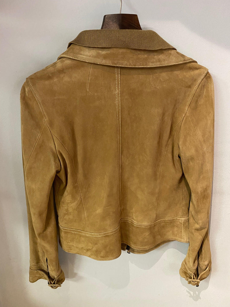 Pinko Tan Suede Jacket with Pockets IT 44 (UK 12)