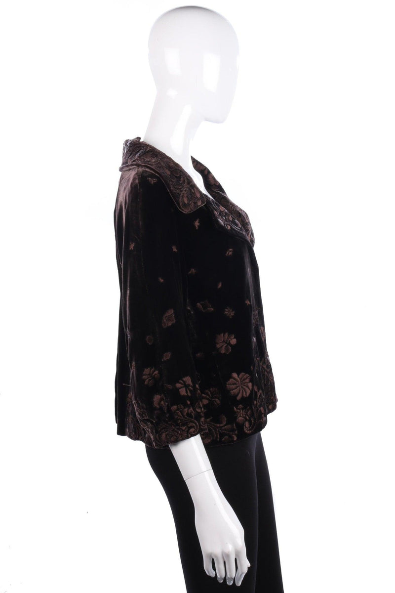 Embroidered brown vintage jacket size 10-12