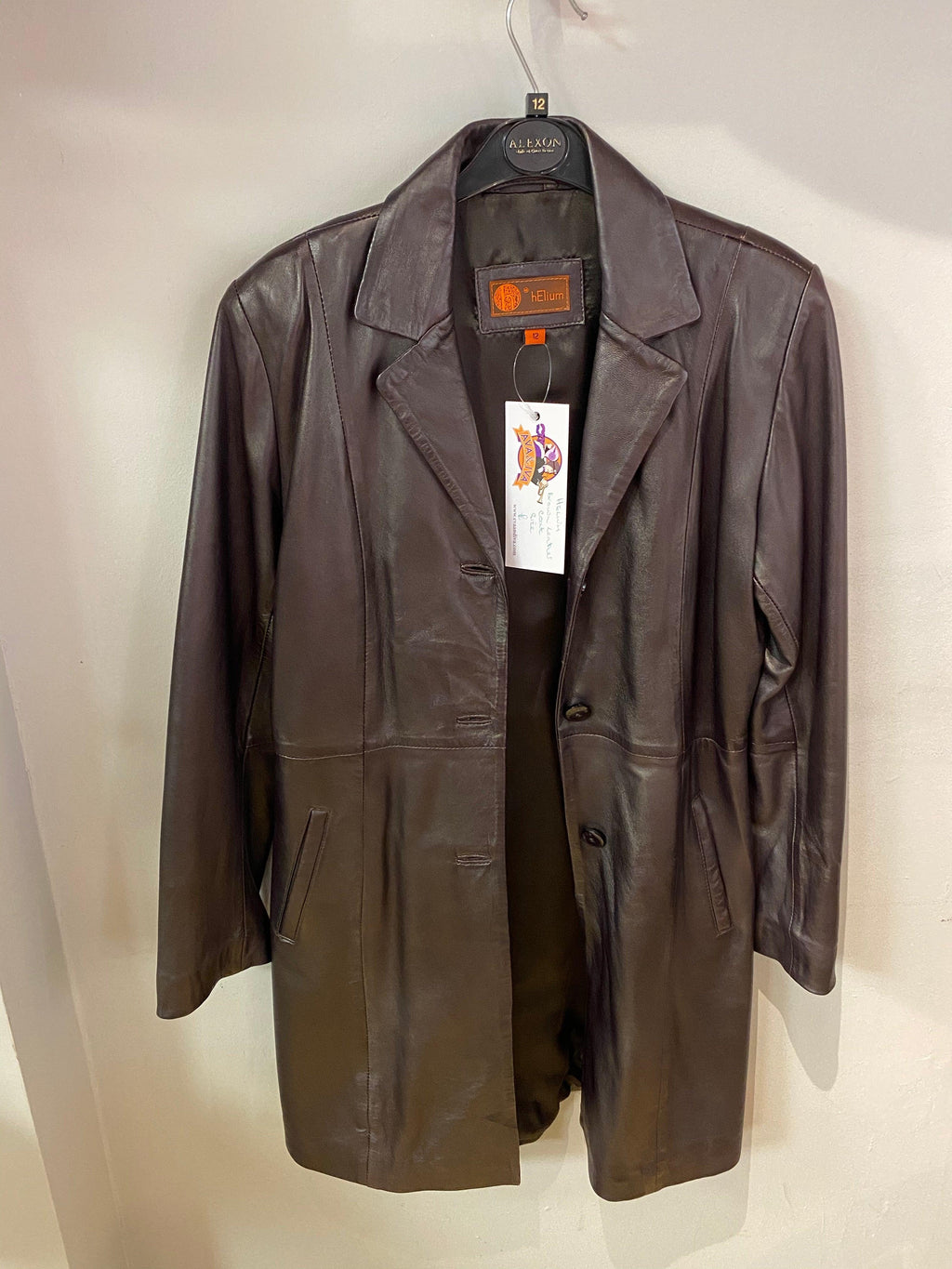 hElium Soft leather Coat Brown Fully Lined with Pockets UK Size 12
