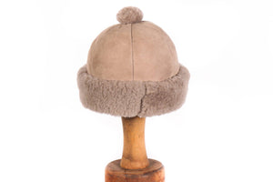 Brown suede hat with sheepskin