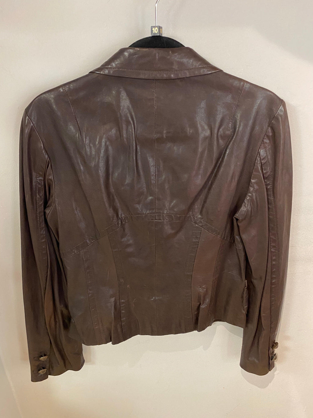 Marc Cain Brown Leather Jacket Size N3 (UK12)