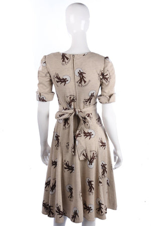 Vintage 1970's Dress with Dance Motif Fabric and Belt. Cream. UK 8/10
