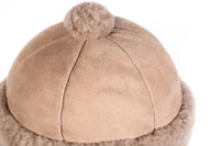 Brown suede hat with sheepskin detail