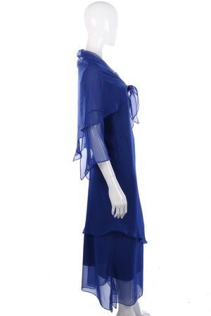 Beautiful blue handmade evening dress and shawl