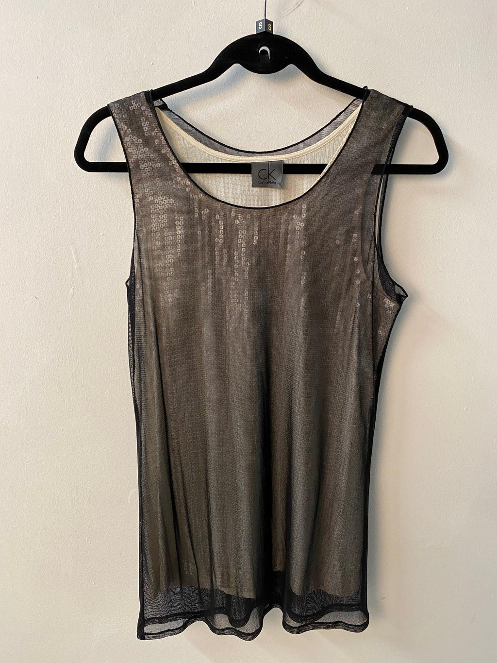 Calvin Klein Grey and Black Silk Sequin Top Size 44