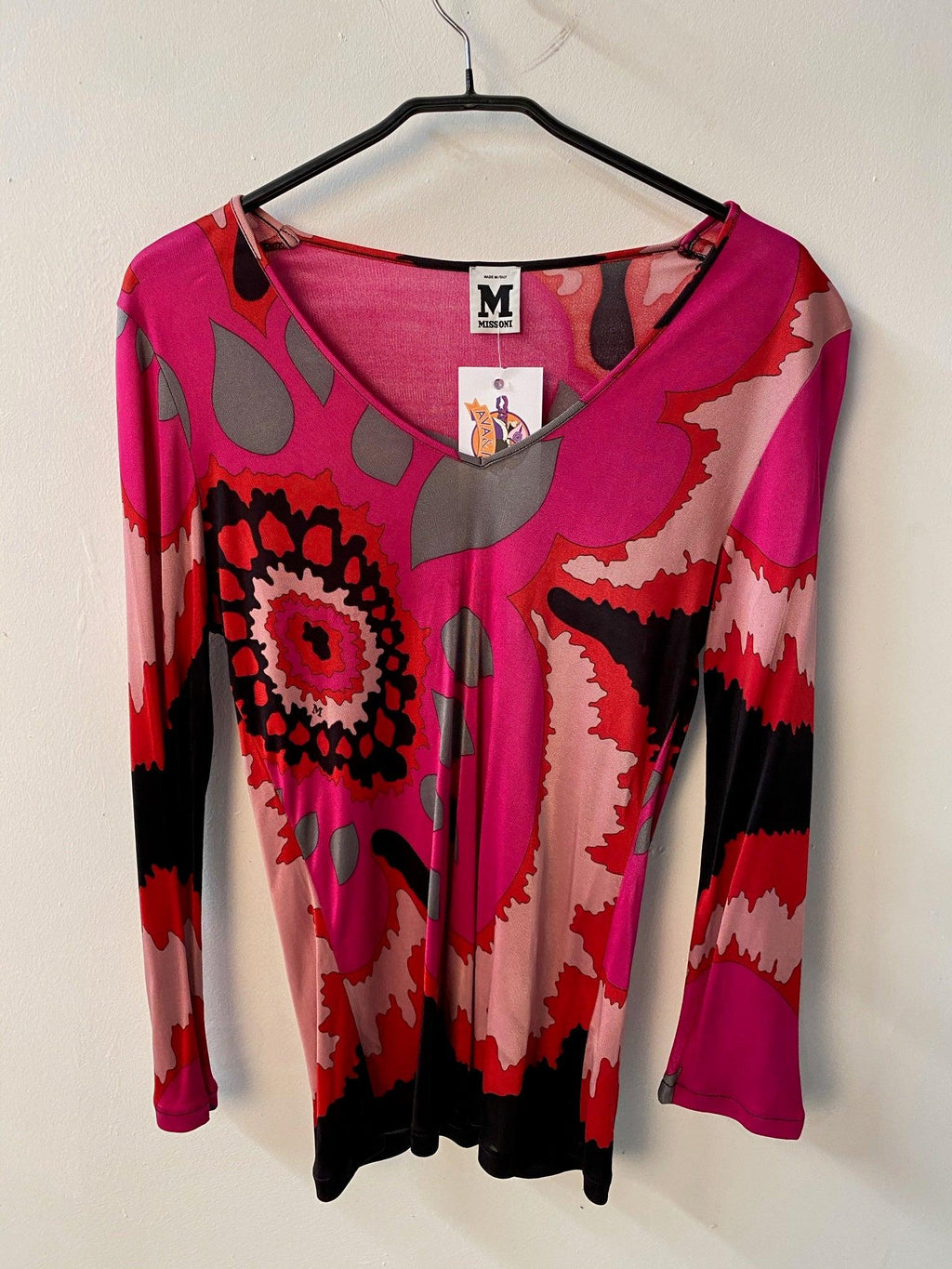 Missoni Long Sleeve Top Festival Pattern Pink UK Size 12