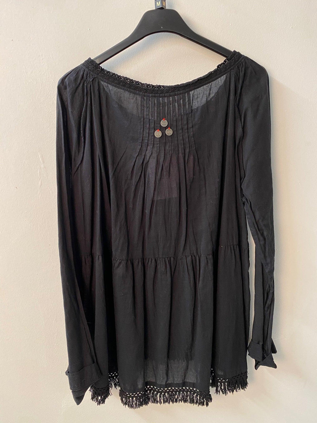 Odd Molly Black Boho Top Cotton Size 10 BNWT