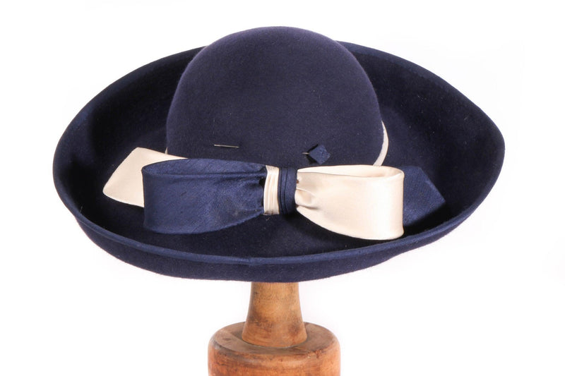 Eileene Model Millinery blue formal hat with large bow detail detail