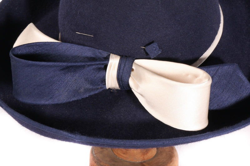 Eileene Model Millinery blue formal hat with large bow detail details
